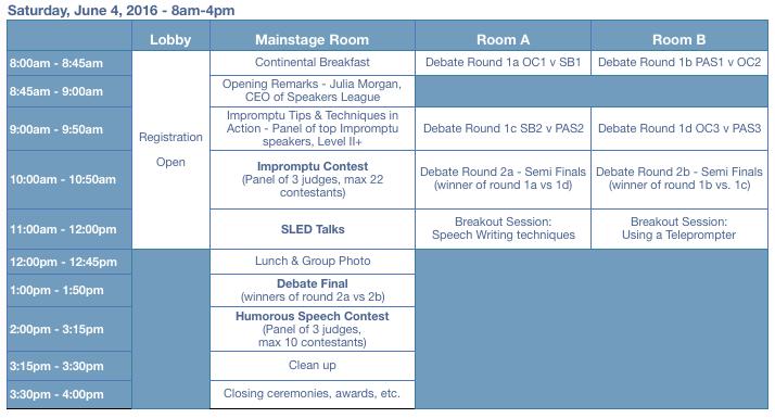 SLAM tentative schedule